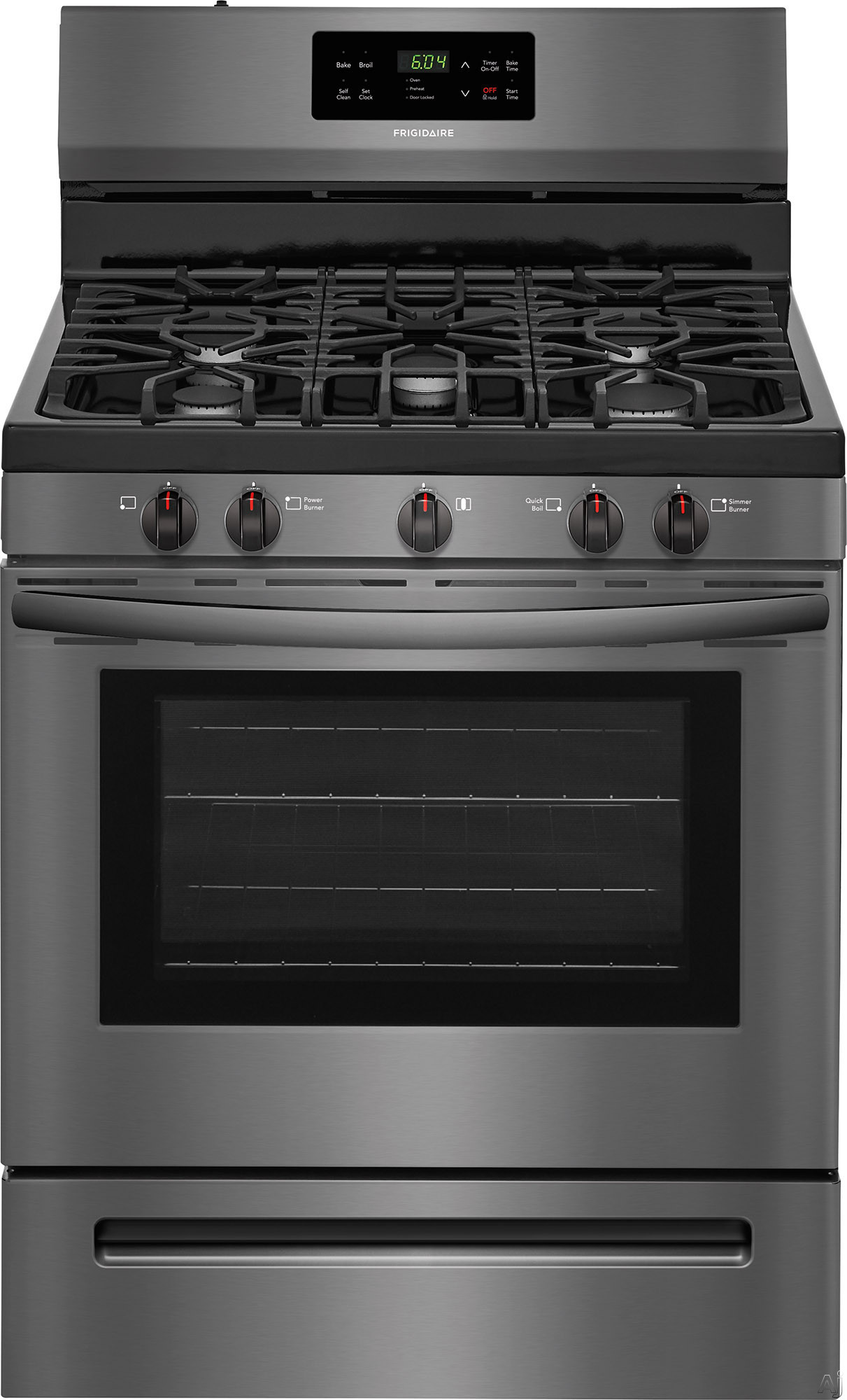 """Frigidaire FFGF3054TD 30 Inch Freestanding Gas Range with Simmer Burner, Quick Boil, Store-Moreâ""""¢ Drawer, One-Touch Self-Clean, Continuous Grates, 5 Sealed Burner and 5 cu. ft.: Black Stainless S"""
