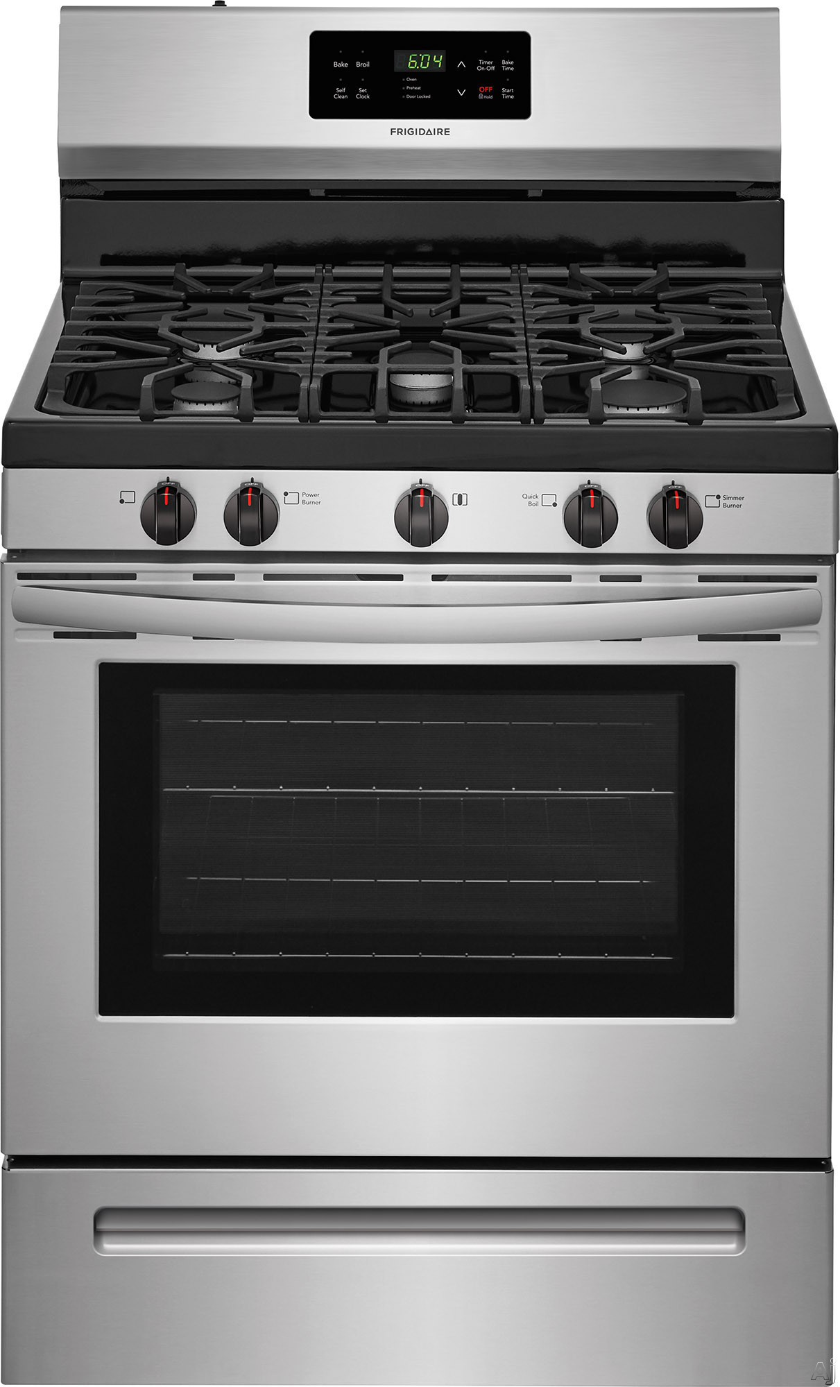"""Frigidaire FFGF3054TS 30 Inch Freestanding Gas Range with Simmer Burner, Quick Boil, Store-Moreâ""""¢ Drawer, One-Touch Self-Clean, Continuous Grates, 5 Sealed Burner and 5 cu. ft.: Stainless Steel"""