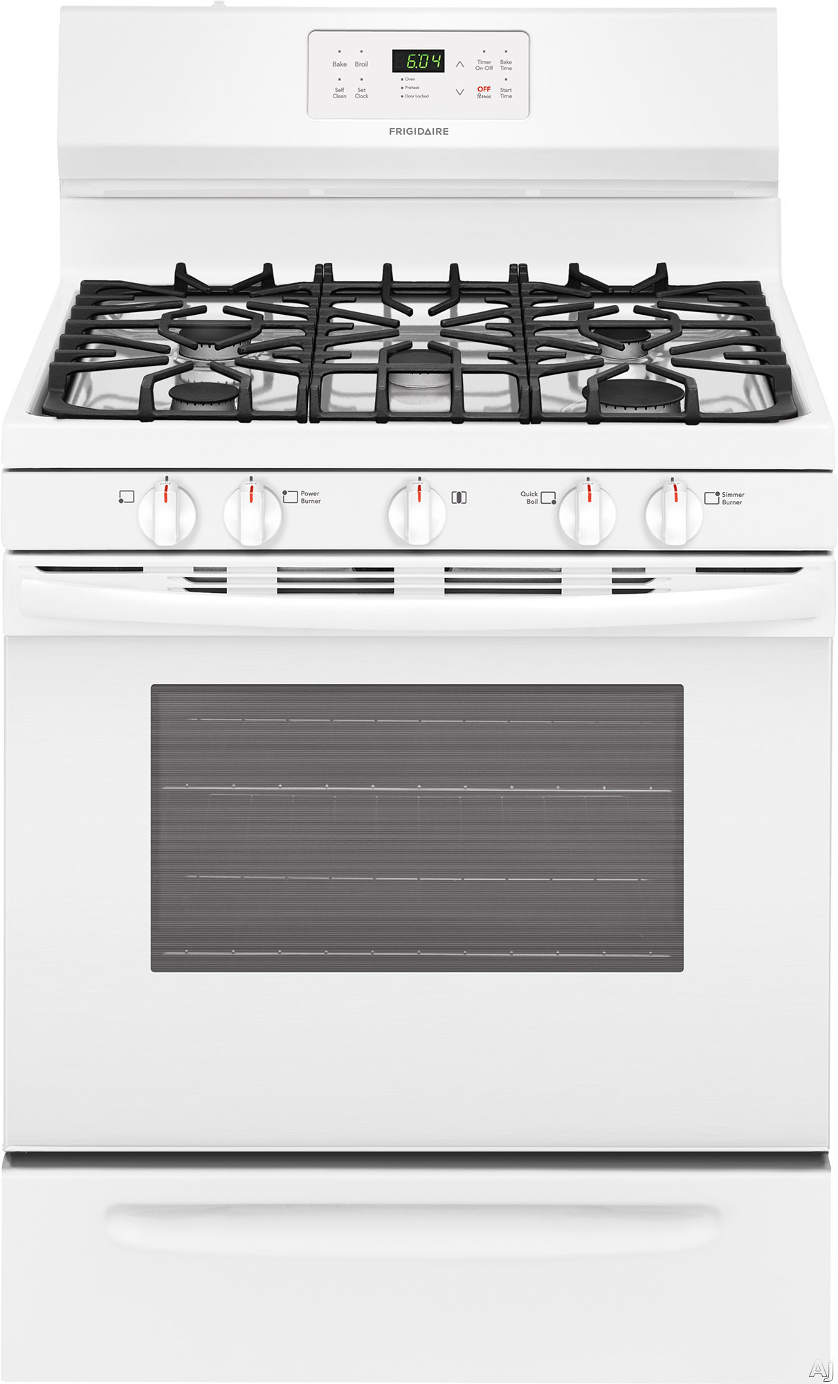 """Frigidaire FFGF3054TW 30 Inch Freestanding Gas Range with Simmer Burner, Quick Boil, Store-Moreâ""""¢ Drawer, One-Touch Self-Clean, Continuous Grates, 5 Sealed Burner and 5 cu. ft.: White"""