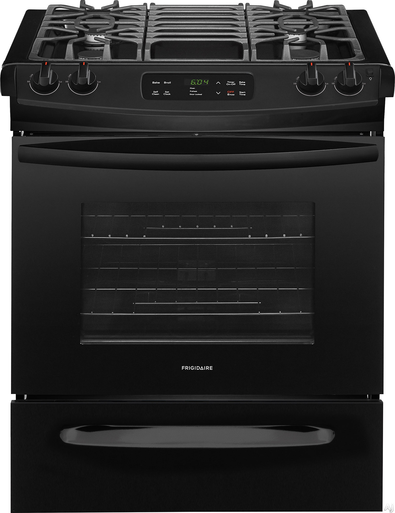 "Frigidaire FFGS3026TB 30 Inch Slide-In Gas Range with One-Touch Self Clean, Even Baking Technology, Continuous Grates, Store-Moreâ""¢ Storage Drawer, Oven Rack Handles, Delay Start Baking and 4.5 c"
