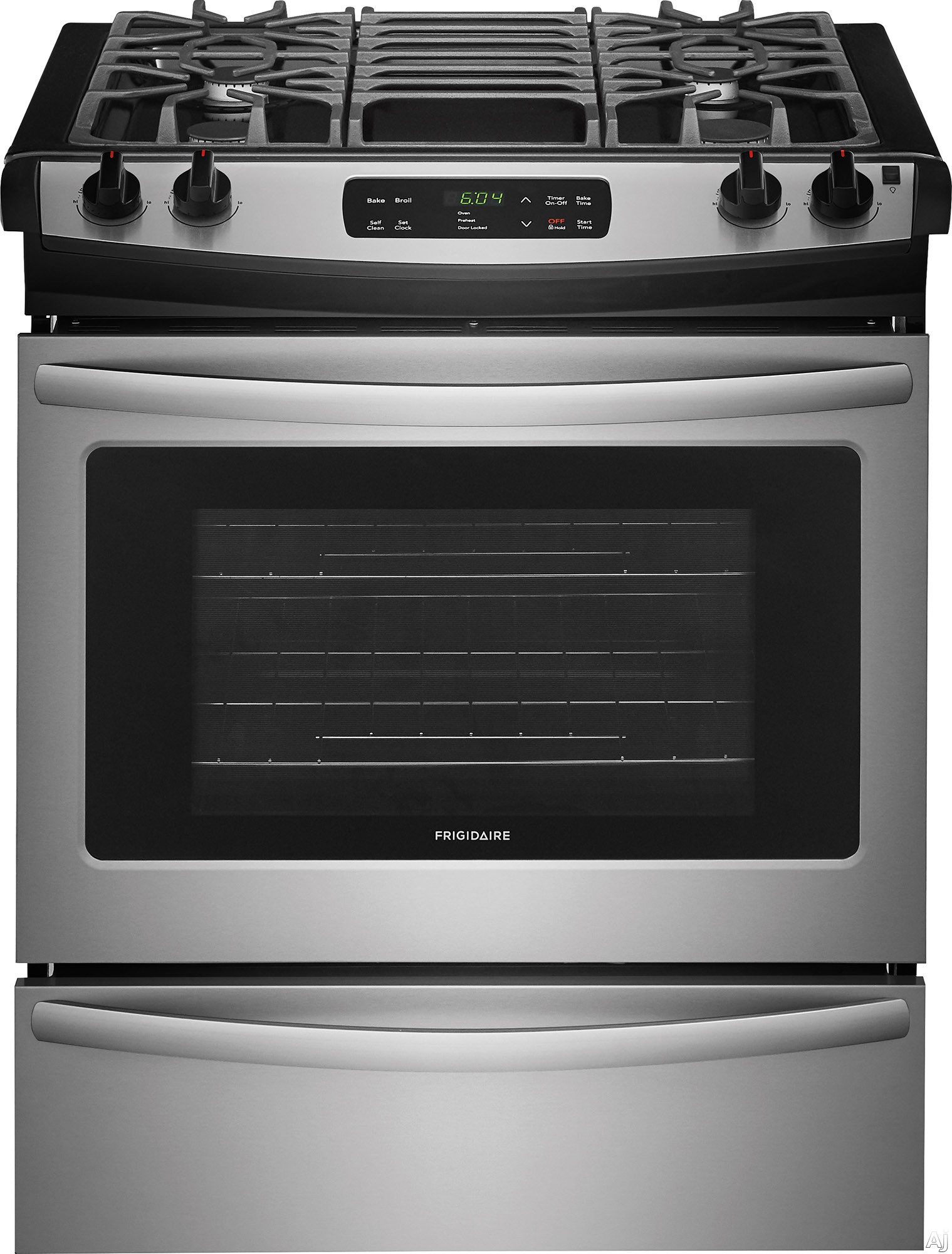 "Frigidaire FFGS3026TS 30 Inch Slide-In Gas Range with One-Touch Self Clean, Even Baking Technology, Continuous Grates, Store-Moreâ""¢ Storage Drawer, Oven Rack Handles, Delay Start Baking and 4.5 c"
