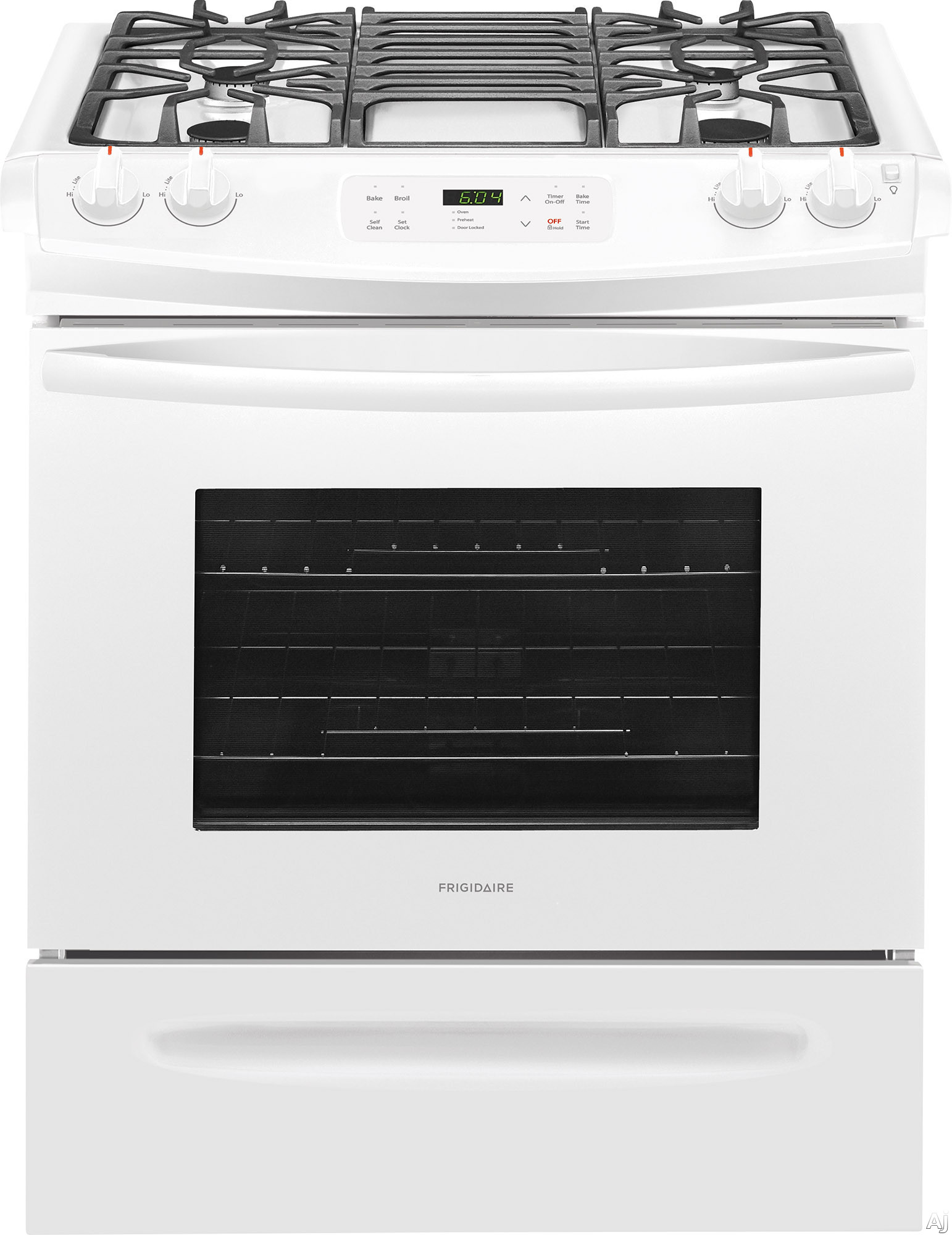 "Frigidaire FFGS3026TW 30 Inch Slide-In Gas Range with One-Touch Self Clean, Even Baking Technology, Continuous Grates, Store-Moreâ""¢ Storage Drawer, Oven Rack Handles, Delay Start Baking and 4.5 c"