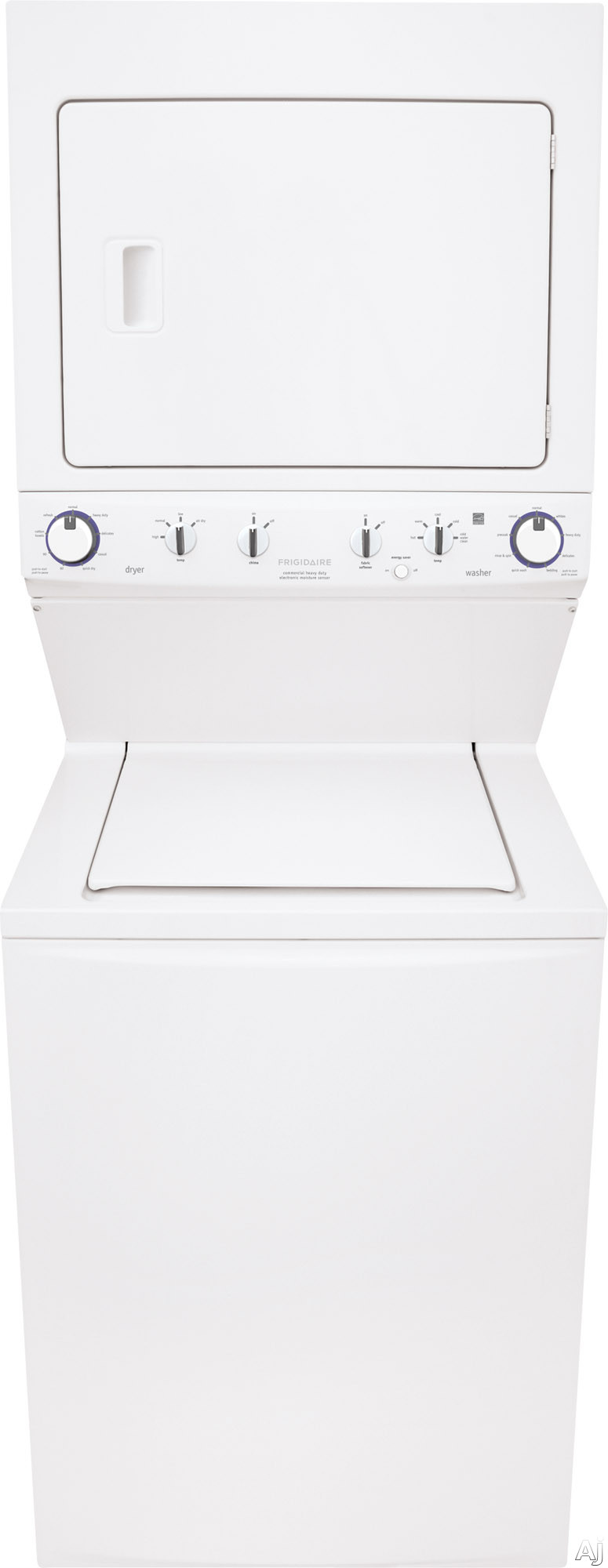 Frigidaire FFLE4033Q 27 Inch Electric Laundry Center with 3.8 cu. ft. Washer, 5.5 cu. ft. Dryer, ENERGY STAR, 9 Wash Cycles, 9 Dry Cycles, Quick Cycle, Pre-Soak, Fabric Softener Dispenser and Moisture Sensors
