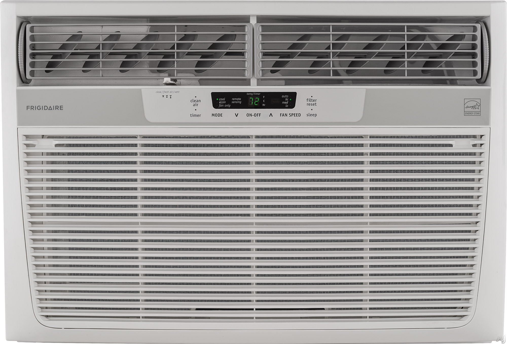 Frigidaire FFRE2533S2 25 000 BTU Window Thru The Wall Room Air Conditioner with 523 CFM 3 Fan Speeds Effortless Remote Temperature Control 24 Hour Timer Energy Saver Mode Effortless Clean Filter Clean