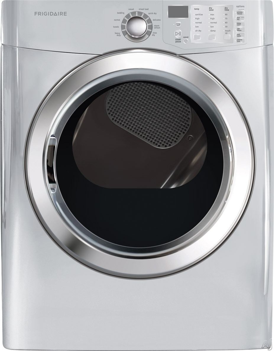 Frigidaire FFSG5115P 27 Inch Gas Dryer with Ready Steam™, One-Touch™ Wrinkle Release, NSF-Certified, 10 Dry Cycles, Quick Dry Cycle, Precision Dry™ Moisture Sensor, Auto Dry Cycles, Timed Dry Cycles, Reversible Door, Ready-Select® Controls and 7.0