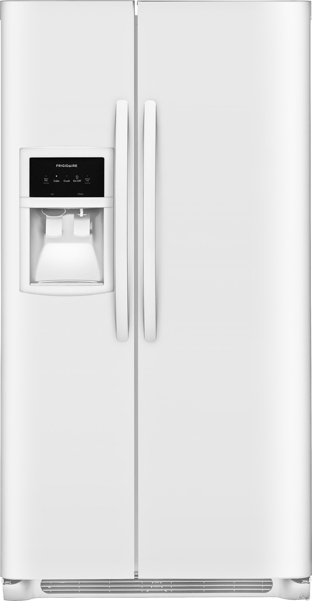 Images Frigidaire FFSS2625TP 36 Inch Side-by-Side Refrigerator with PureSource® Filtration, Ready-Select® Controls, Filter Alert, Control Lock, Store-More™ Shelves, Store-More™ Gallon Bins, Store-More™ Drawers, Adjustable Interior Storage, Deli Drawer an