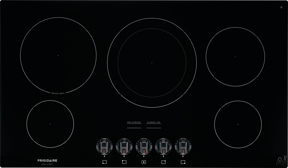 Frigidaire Gallery Series FGEC3648UB 36 Inch Electric Cooktop with SpaceWise® Expandable Elements, Ceramic Glass Cooktop, Hot Surface Indicators, Quick Boil and A.D.A. Compliant