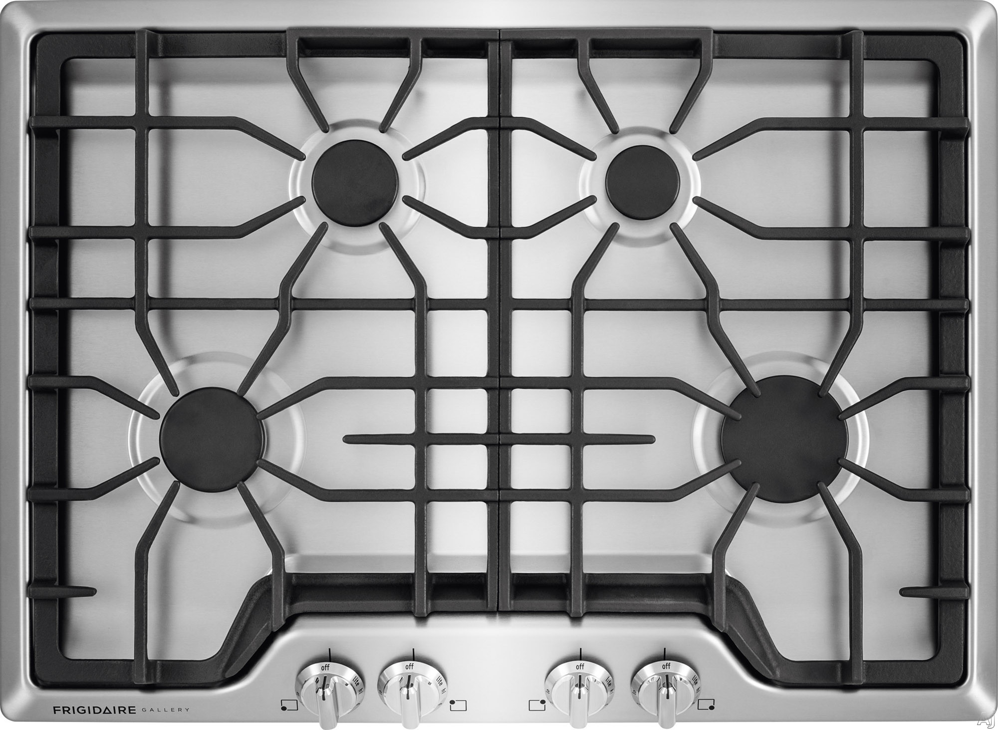 Frigidaire Gallery Series FGGC3045Q 30 Inch Gas Cooktop with 4 Sealed Burners, Low Simmer Burner, Continuous Dishwasher Safe Cast Iron Grates, Front Angled Express-Select Controls, ADA Compliant Design and Spill-Safe Cooktop FGGC3045Q