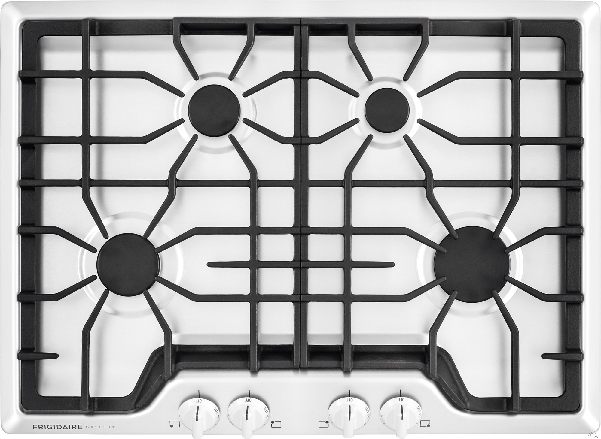 Frigidaire Gallery Series FGGC3045QW 30 Inch Gas Cooktop with 4 Sealed Burners, Low Simmer Burner, Continuous Dishwasher Safe Cast Iron Grates, Front Angled Express-Select Controls, ADA Compliant Design and Spill-Safe Cooktop: White