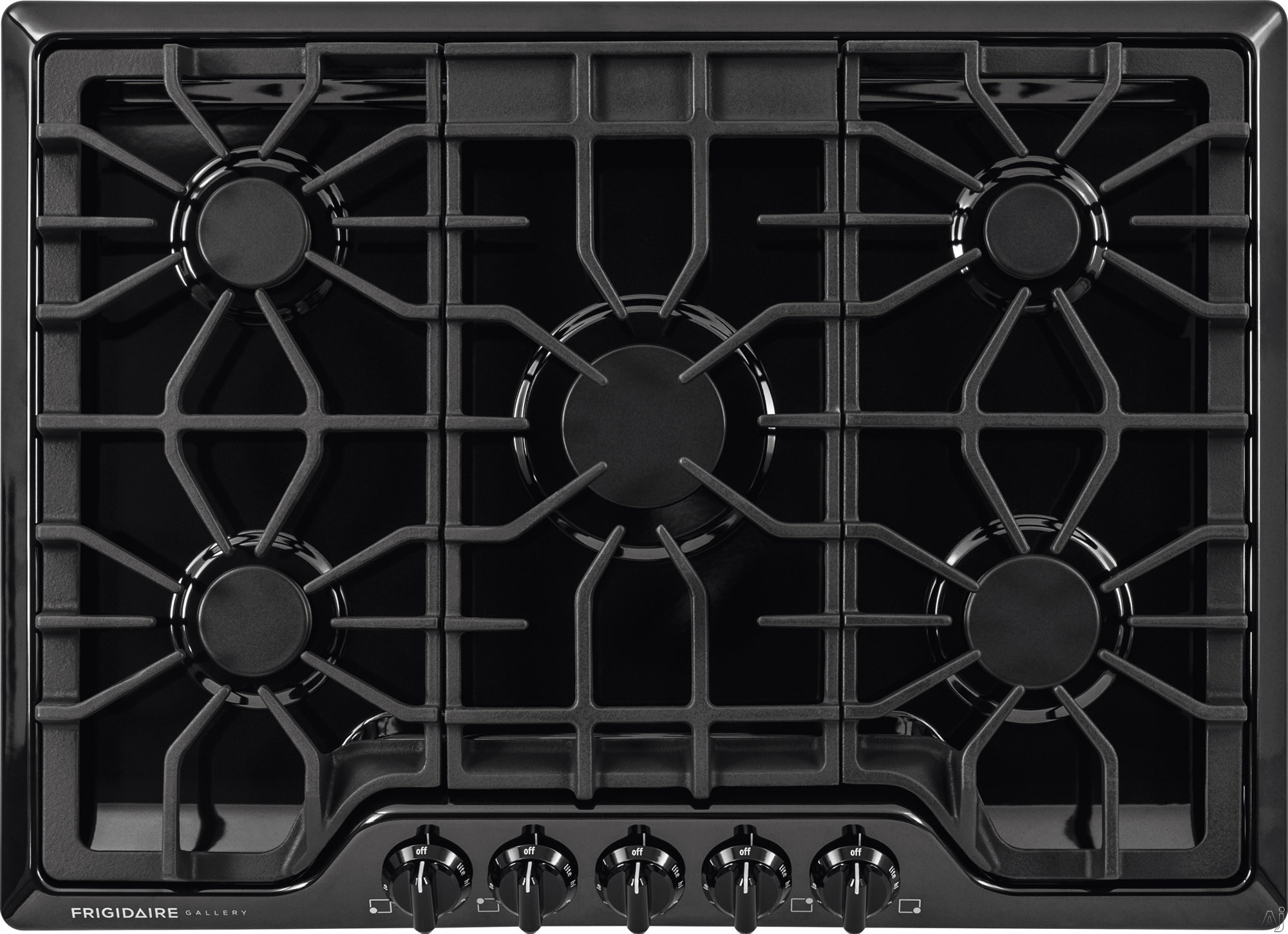 Frigidaire Gallery Series FGGC3047QB 30 Inch Gas Cooktop with LP Conversion Option, Seamless Recessed Burners, SpillSafe®, Angled Front Controls, Continuous Iron Grates, Low Simmer Burner and ADA Compliant FGGC3047QB