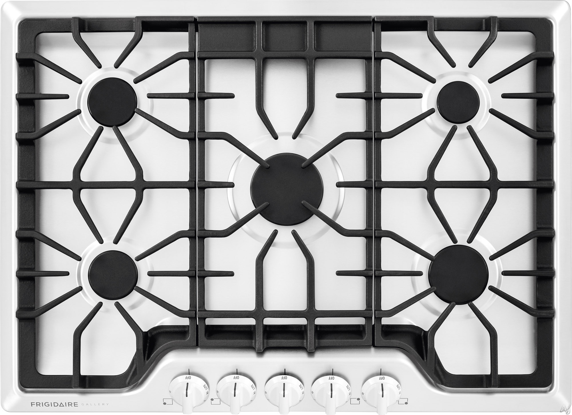 Frigidaire Gallery Series FGGC3047QW 30 Inch Gas Cooktop with LP Conversion Option, Seamless Recessed Burners, SpillSafe ®, Angled Front Controls, Continuous Iron Grates, Low Simmer Burner and ADA Compliant