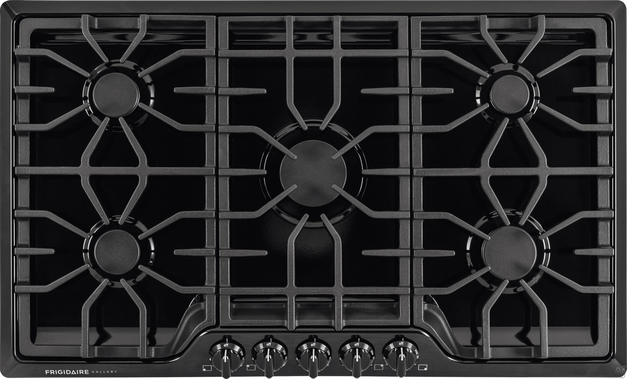 Frigidaire Gallery Series FGGC3645QB 36 Inch Gas Cooktop with 5 Sealed Burners, Continuous Cast Iron Grates, Express-Select Control Knobs and 450 to 18,000-BTU Center Burner and ADA Compliant: Black