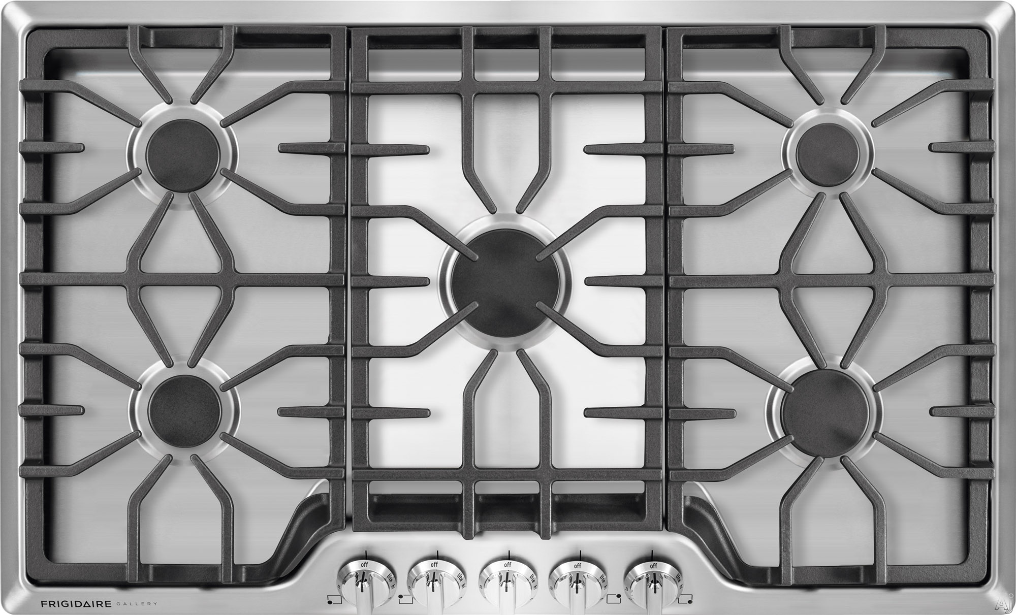 Frigidaire Gallery Series FGGC3645Q 36 Inch Gas Cooktop with 5 Sealed Burners, Continuous Cast Iron Grates, Express-Select Control Knobs and 450 to 18,000-BTU Center Burner and ADA Compliant FGGC3645Q