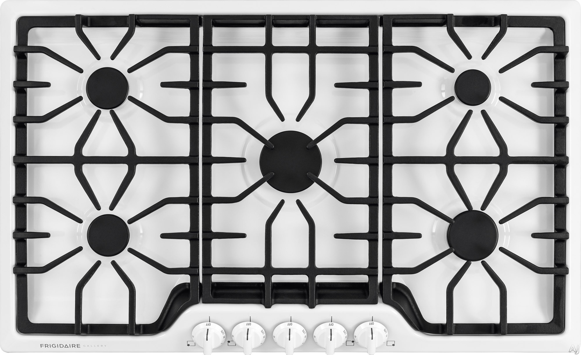 Frigidaire Gallery Series FGGC3645QW 36 Inch Gas Cooktop with 5 Sealed Burners, Continuous Cast Iron Grates, Express-Select Control Knobs and 450 to 18,000-BTU Center Burner and ADA Compliant: White