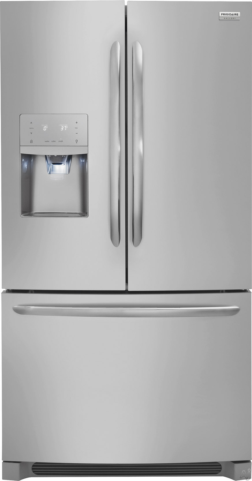 "Gallery 4-Piece Stainless Steel Kitchen Package with FGHB2868TF 36"""" French Door Refrigerator  FGGF3036TF 30"""" Freestanding Gas Range  FGID2466QF 24"""" Fully"" 851466"