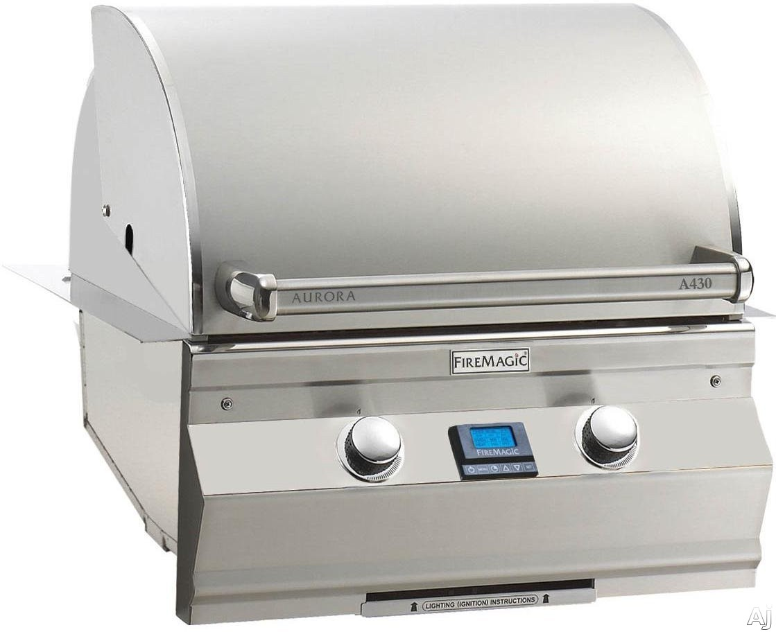 Fire Magic Aurora Collection A430I5A1N 30 Inch Built-In Grill with 432 Sq. In. Cooking Area, 50,000 BTU, All Infrared Burners, 16-Gauge Stainless Steel Flavor Grids, Meat Probe, Warming Rack, Digital