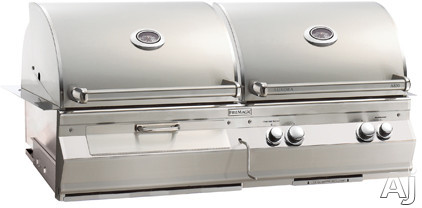 Fire Magic Aurora Collection A830I5LANCB 55 Inch Built-In Combination Gas and Charcoal Grill with 828 Sq. In. Cooking Area, Up to 76,000 BTU Output, Cast Stainless E-Burners, 1 Infrared Burner, Stainl