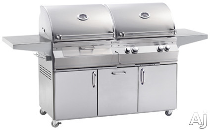 Fire Magic Aurora Collection A830S6LAN61CB 80 3/4 Inch Freestanding Combo Gas and Charcoal Grill with 828 sq. in. Grilling Area, 89,000 BTU, Rotisserie, 1 Infrared Burner, Hot Surface Ignition, Charcoal Igniter, Charcoal Crank, Analog Thermometer and Sto
