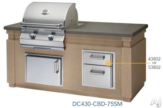 Fire Magic DC430CBD75SM 76 1/4 Inch Pre Fab Island with Grill, Double Drawer, Front Access Door and End Panel Door Cut-Outs