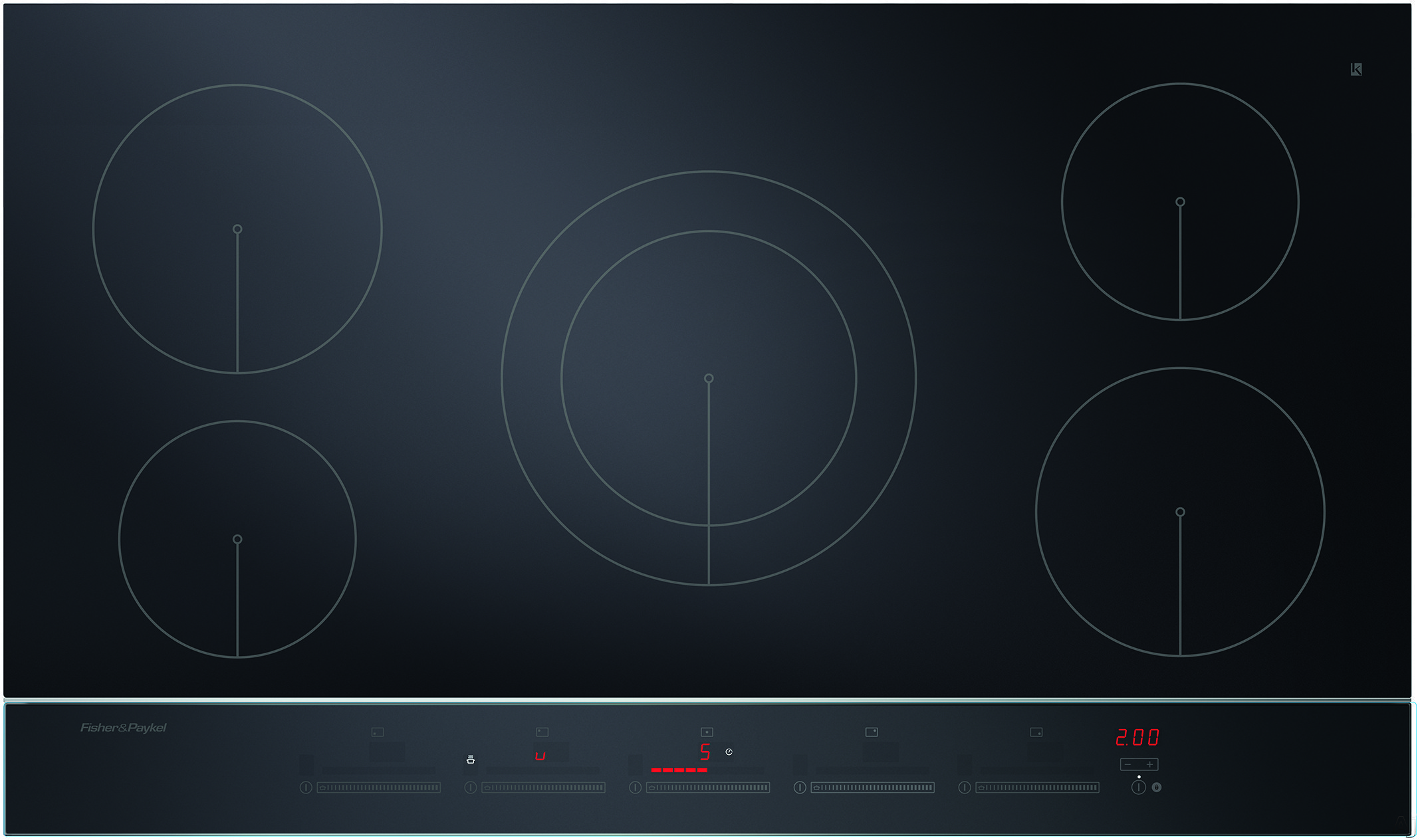 Fisher & Paykel CI365DTB2 36 Inch Electric Induction Cooktop with 5 Cooking Zones, PowerBoost with up to 5500W Output, Black Ceramic Glass, Hot Surface Indicator, Spillage Auto-Off, Minute Timer and Touch & Slide Controls