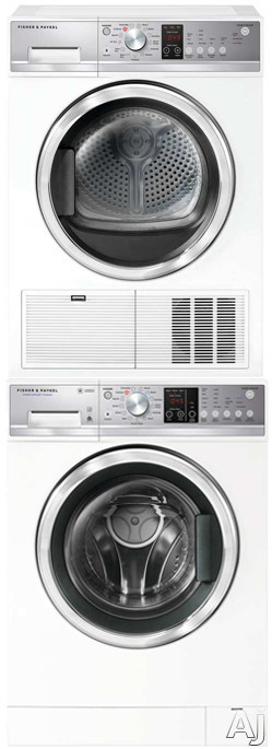 Fisher & Paykel FPWADREW10 Stacked Washer & Dryer Set with Front Load Washer and Electric Dryer in White