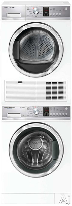 Fisher & Paykel FPWADREW12 Stacked Washer & Dryer Set with Front Load Washer and Electric Dryer in White