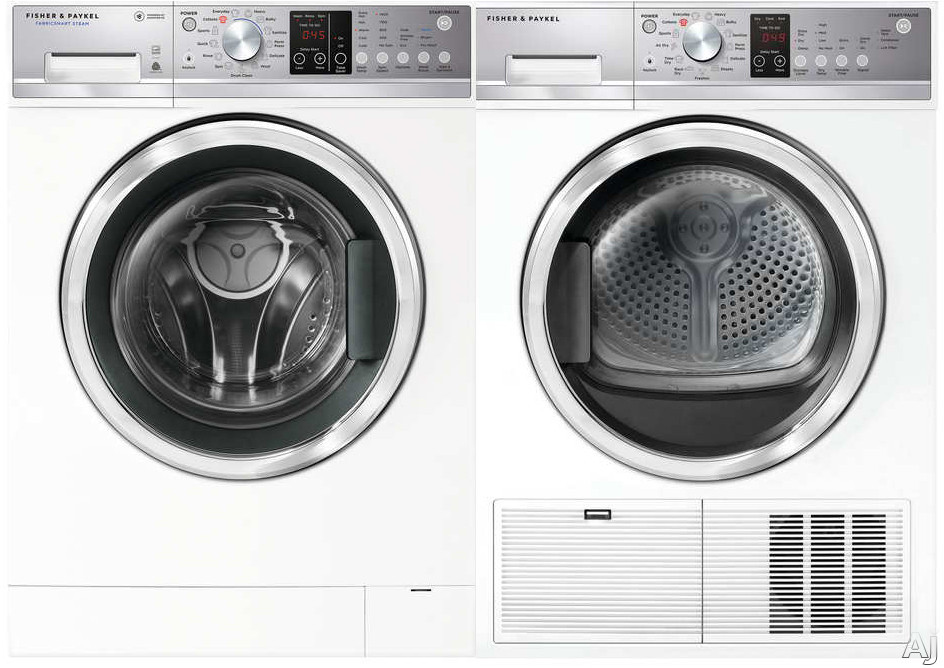 Fisher & Paykel FPWADREW9 Side-by-Side Washer & Dryer Set with Front Load Washer and Electric Dryer in White