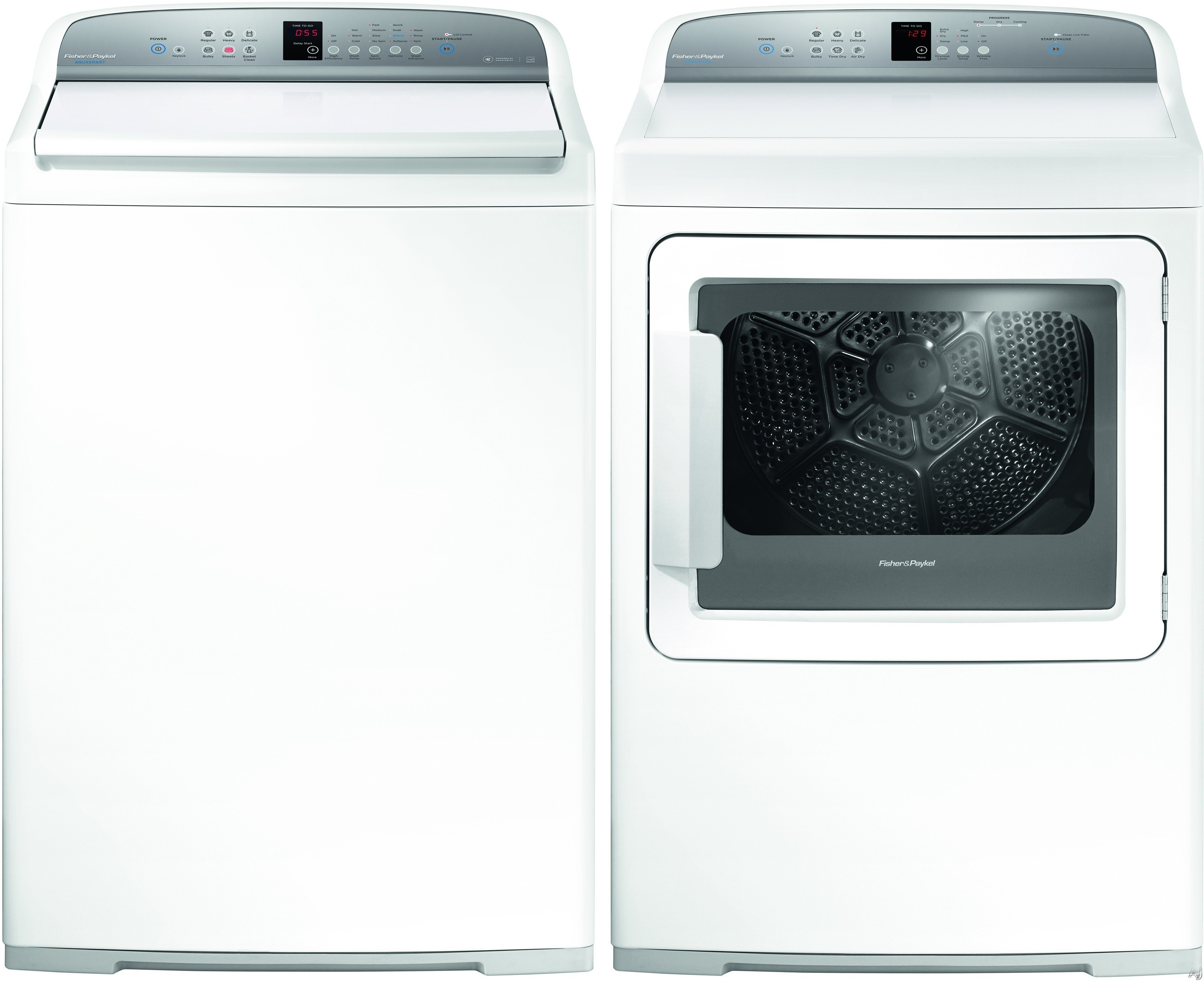 Fisher & Paykel AquaSmart FPWADRGW14027 Side-by-Side Washer & Dryer Set with Top Load Washer and Gas Dryer in White