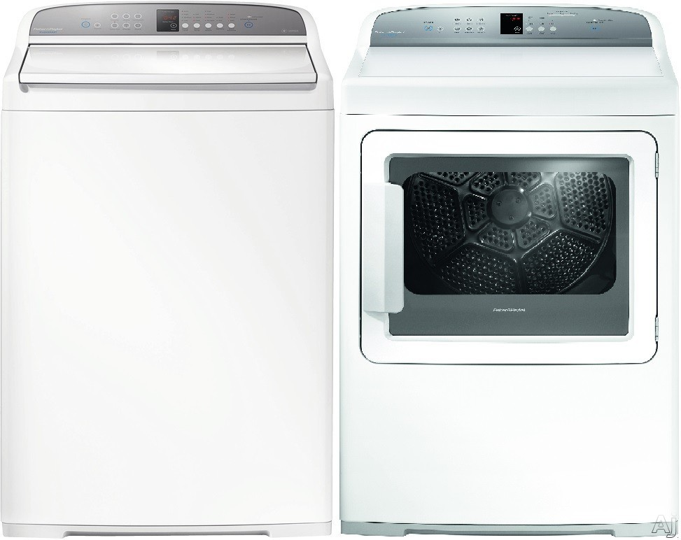 Fisher & Paykel FPWADREW2 Side-by-Side Washer & Dryer Set with Top Load Washer and Electric Dryer in White