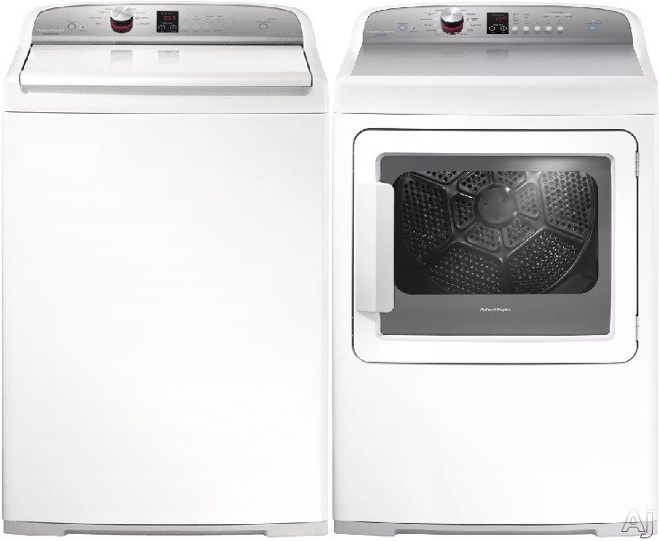 Fisher & Paykel AquaSmart FPWADREW2P Side-by-Side Washer & Dryer Set with Top Load Washer and Electric Dryer in White
