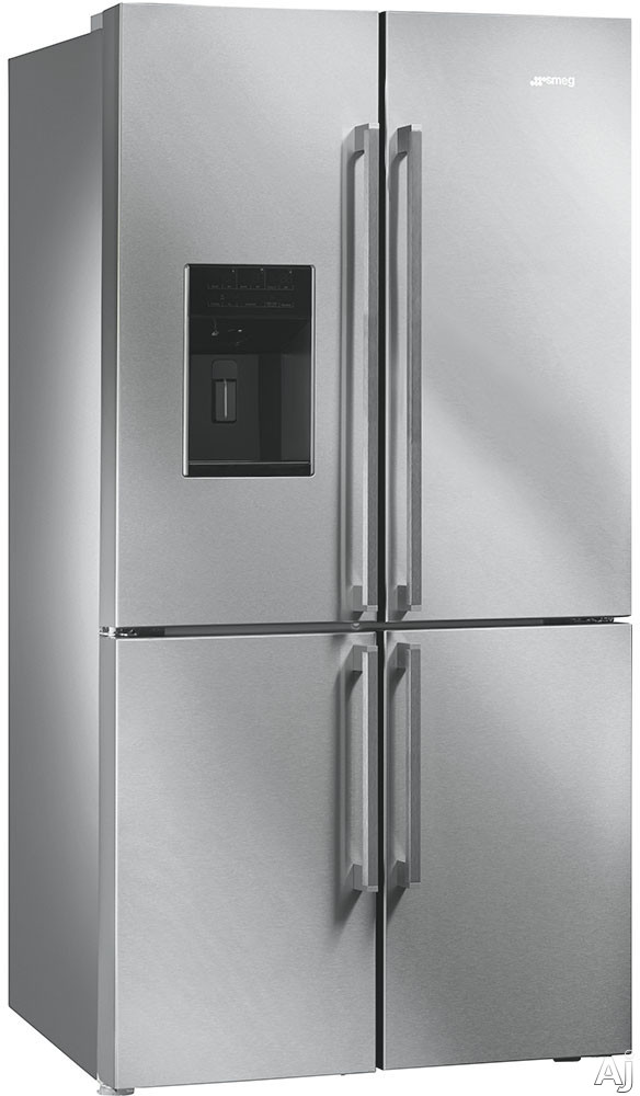 Smeg FQ75XPEDU 36 Inch 4-Door French Door Refrigerator with Multi Zone Compartment, Dual Cooling System, Natural Plus Blue Light, Ice & Water Dispenser, Door Ajar Alarm, Fast Cooling, Fast Freezing, Egg Tray, Dairy Center, Child Lock, 22.7 cu. ft. Capacity, ENERGY STARÃ