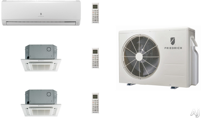 Friedrich FRI24KA18 3 Room Mini Split Air Conditioning System with Heat Pump, Inverter Technology, Low Ambient Operation, Auto Restart and R-410A Refrigerant FRI24KA18