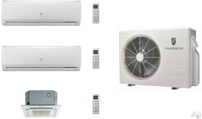 Friedrich FRI24KA21 3 Room Mini Split Air Conditioning System with Heat Pump, Inverter Technology, Low Ambient Operation, Auto Restart and R-410A Refrigerant FRI24KA21
