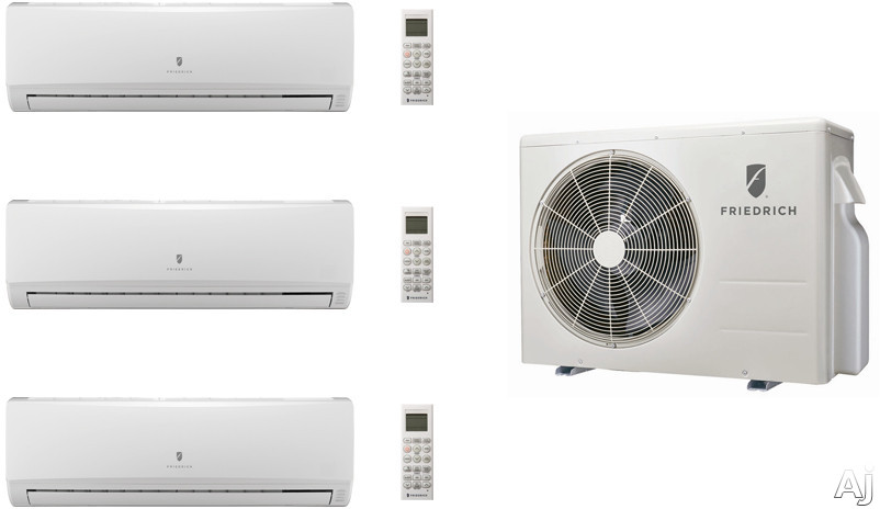 Friedrich FRI24KA29 3 Room Mini Split Air Conditioning System with Heat Pump, Inverter Technology, Low Ambient Operation, Auto Restart and R-410A Refrigerant FRI24KA29