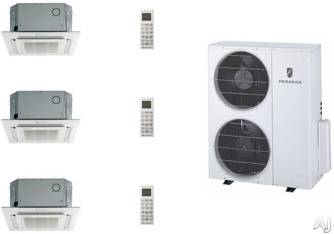 Friedrich FRI36KB95 3 Room Mini Split Air Conditioning System with Heat Pump, Inverter Technology, Low Ambient Operation, Auto Restart and R-410A Refrigerant FRI36KB95