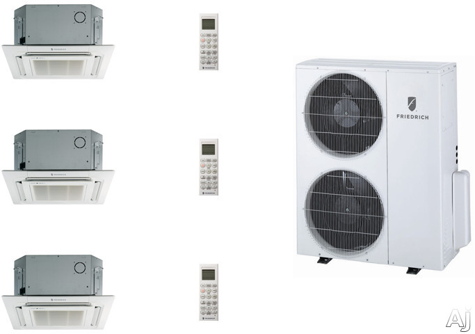 Friedrich FRI36KB72 3 Room Mini Split Air Conditioning System with Heat Pump, Inverter Technology, Low Ambient Operation, Auto Restart and R-410A Refrigerant FRI36KB72