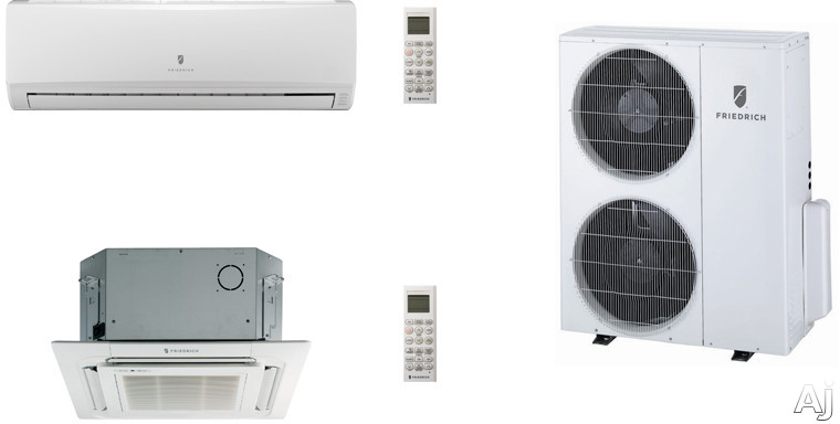 Friedrich FRI36KB113 2 Room Mini Split Air Conditioning System with Heat Pump, Inverter Technology, Low Ambient Operation, Auto Restart and R-410A Refrigerant FRI36KB113