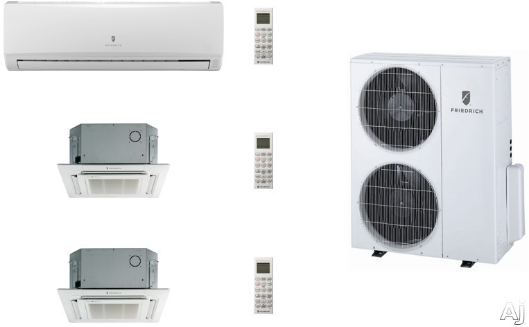 Friedrich FRI36KB99 3 Room Mini Split Air Conditioning System with Heat Pump, Inverter Technology, Low Ambient Operation, Auto Restart and R-410A Refrigerant