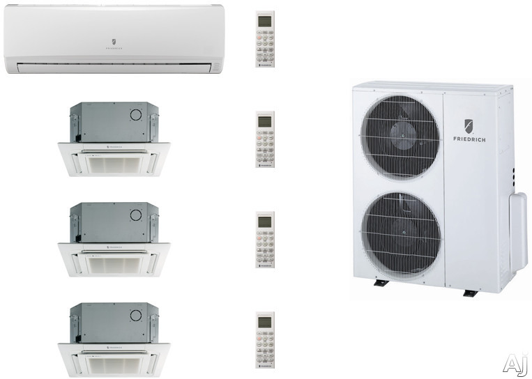 Friedrich FRI36KB93 4 Room Mini Split Air Conditioning System with Heat Pump, Inverter Technology, Low Ambient Operation, Auto Restart and R-410A Refrigerant FRI36KB93