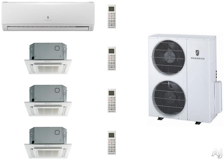 Friedrich FRI36KB94 4 Room Mini Split Air Conditioning System with Heat Pump, Inverter Technology, Low Ambient Operation, Auto Restart and R-410A Refrigerant FRI36KB94