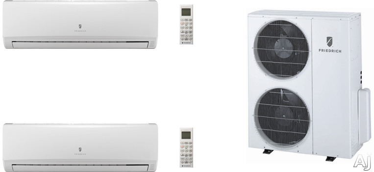 Friedrich FRI36KB135 2 Room Mini Split Air Conditioning System with Heat Pump, Inverter Technology, Low Ambient Operation, Auto Restart and R-410A Refrigerant FRI36KB135