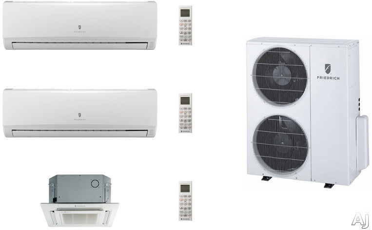 Friedrich FRI36KB104 3 Room Mini Split Air Conditioning System with Heat Pump, Inverter Technology, Low Ambient Operation, Auto Restart and R-410A Refrigerant FRI36KB104