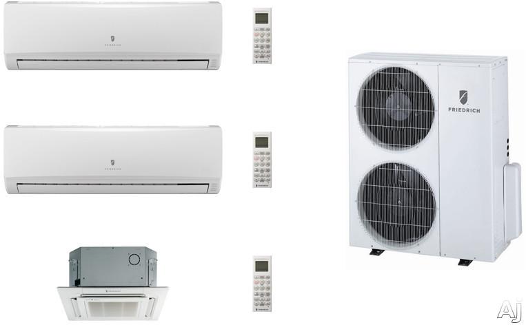 Friedrich FRI36KB87 3 Room Mini Split Air Conditioning System with Heat Pump, Inverter Technology, Low Ambient Operation, Auto Restart and R-410A Refrigerant FRI36KB87