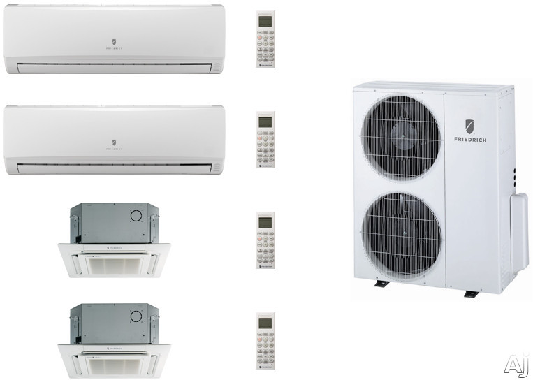 Friedrich FRI36KB100 4 Room Mini Split Air Conditioning System with Heat Pump, Inverter Technology, Low Ambient Operation, Auto Restart and R-410A Refrigerant FRI36KB100
