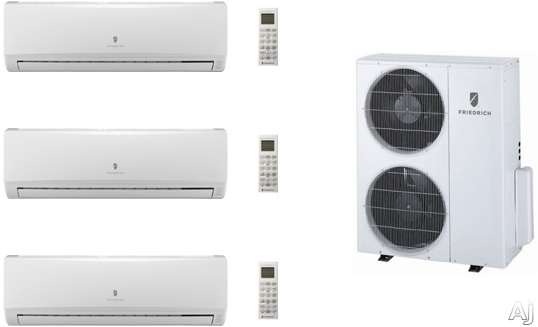 Friedrich FRI36KB117 3 Room Mini Split Air Conditioning System with Heat Pump, Inverter Technology, Low Ambient Operation, Auto Restart and R-410A Refrigerant FRI36KB117