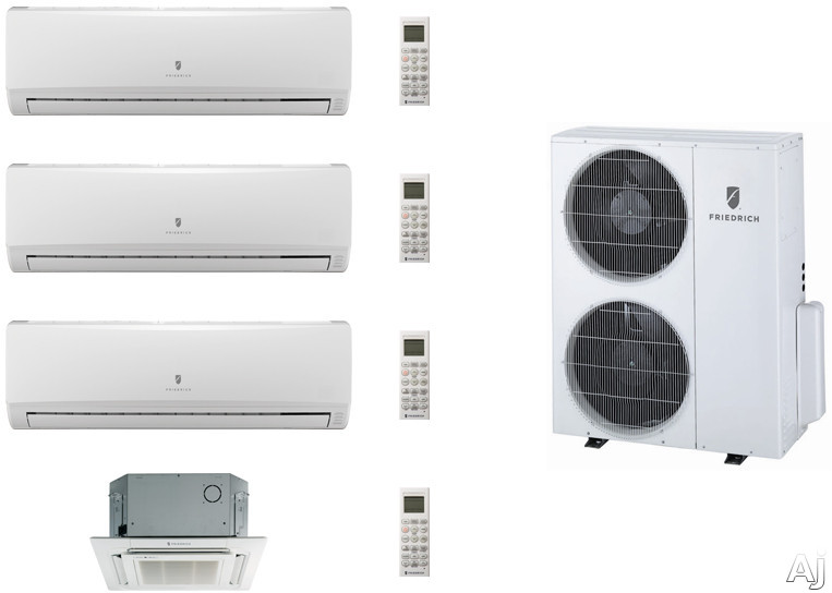 Friedrich FRI36KB105 4 Room Mini Split Air Conditioning System with Heat Pump, Inverter Technology, Low Ambient Operation, Auto Restart and R-410A Refrigerant FRI36KB105