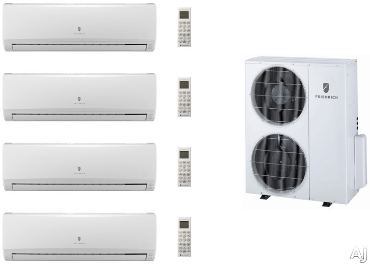 Friedrich FRI36KB130 4 Room Mini Split Air Conditioning System with Heat Pump, Inverter Technology, Low Ambient Operation, Auto Restart and R-410A Refrigerant FRI36KB130