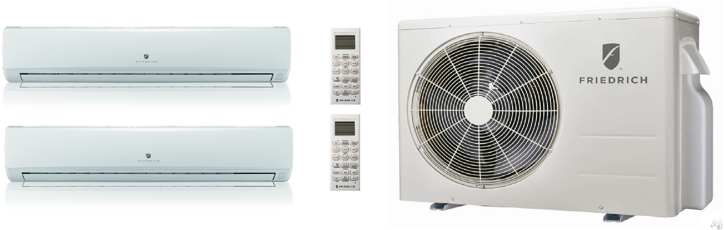 Friedrich FRIED24KB25 2 Room Mini Split System with Heat Pump, Inverter Technology, Cooling with Heat Pump, Low Ambient Operation, Auto Restart, R-410A Refrigerant and DiamonGold Advanced Corrosion Protection FRIED24KB25