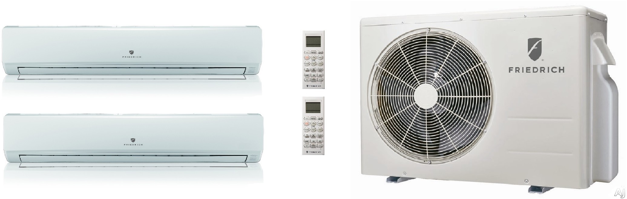 Friedrich FRIED24KB28 2 Room Mini Split System with Heat Pump, Inverter Technology, Cooling with Heat Pump, Low Ambient Operation, Auto Restart, R-410A Refrigerant and DiamonGold Advanced Corrosion Protection FRIED24KB28
