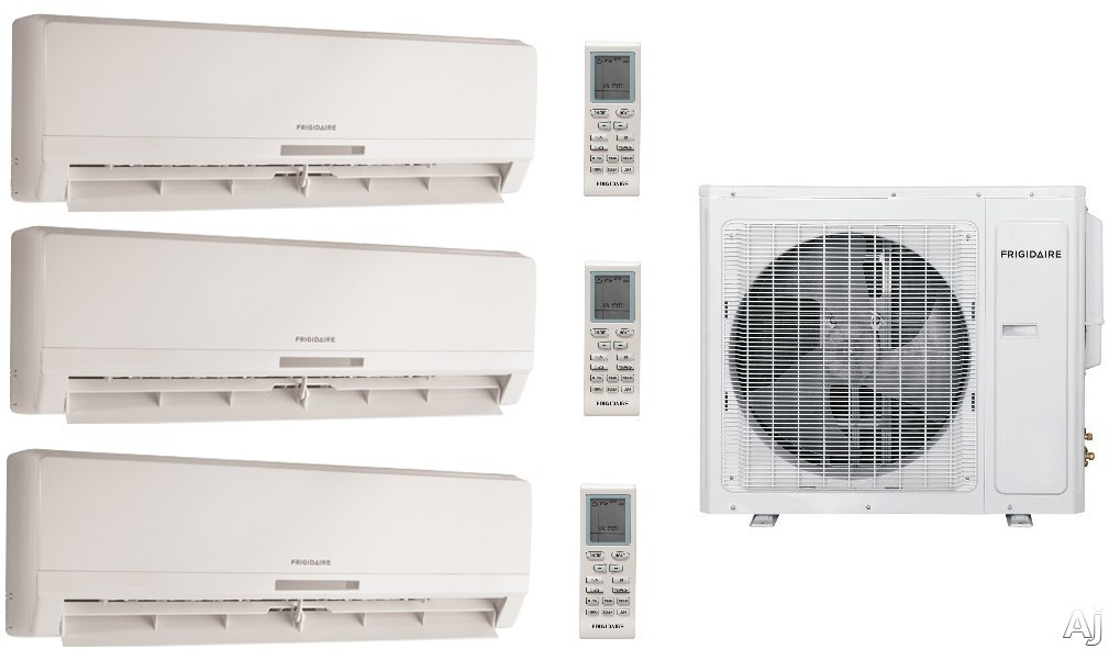 Frigidaire FRIG247 3 Room Mini Split System with 28,000 BTU Multi-Zone Mini Split Outdoor Air Conditioner, 28,400 BTU Heat Pump, Inverter Technology, Low Ambient Operation, Quick Cool and Warm, 3 Fan Speeds, Effortless Temperature Control, 24-Hour Timer